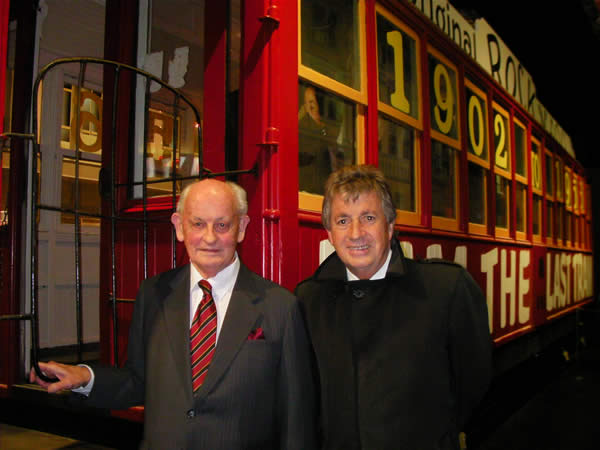 Historian and tram buff Graham Stewart & chairman Mike Lee with 'the last tram' at MOTAT