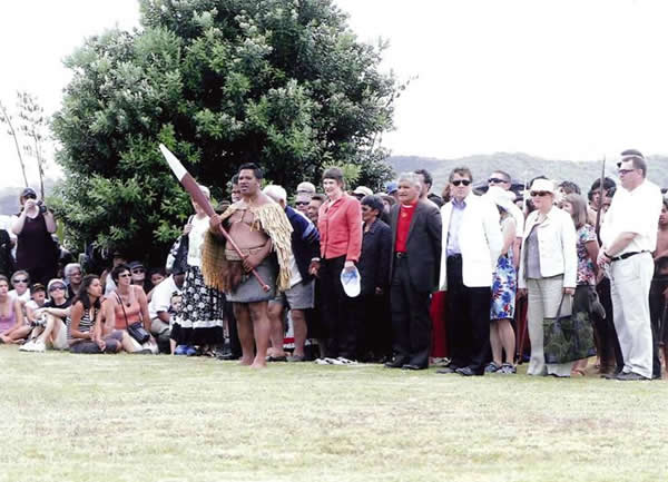 Ceremony official opening Whakanewha Regional Park led by Ngati Paoa rangatira Hauauru Rawiri Prime Minister Helen Clark, Mike Lee and other dignatories walk on to Whakanewha Regional Park