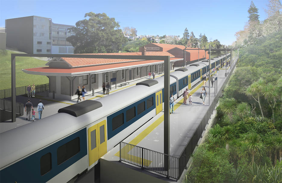 Parnell station - with restored George Troup heritage building on site