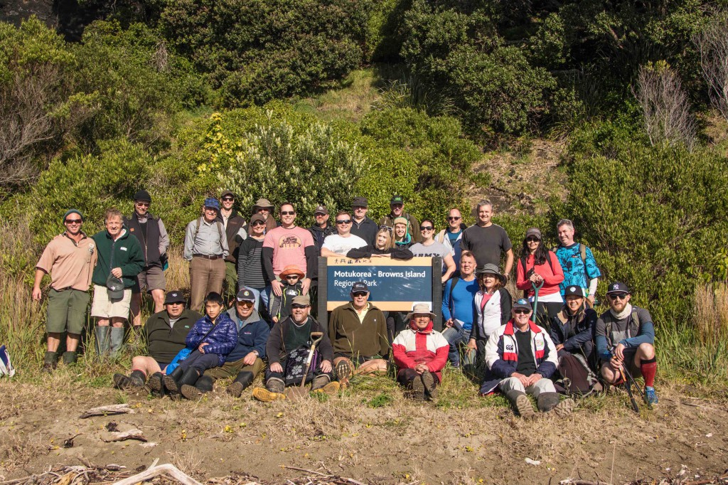 Volunteers land on Motukorea - Browns Island regional park to being restoration work