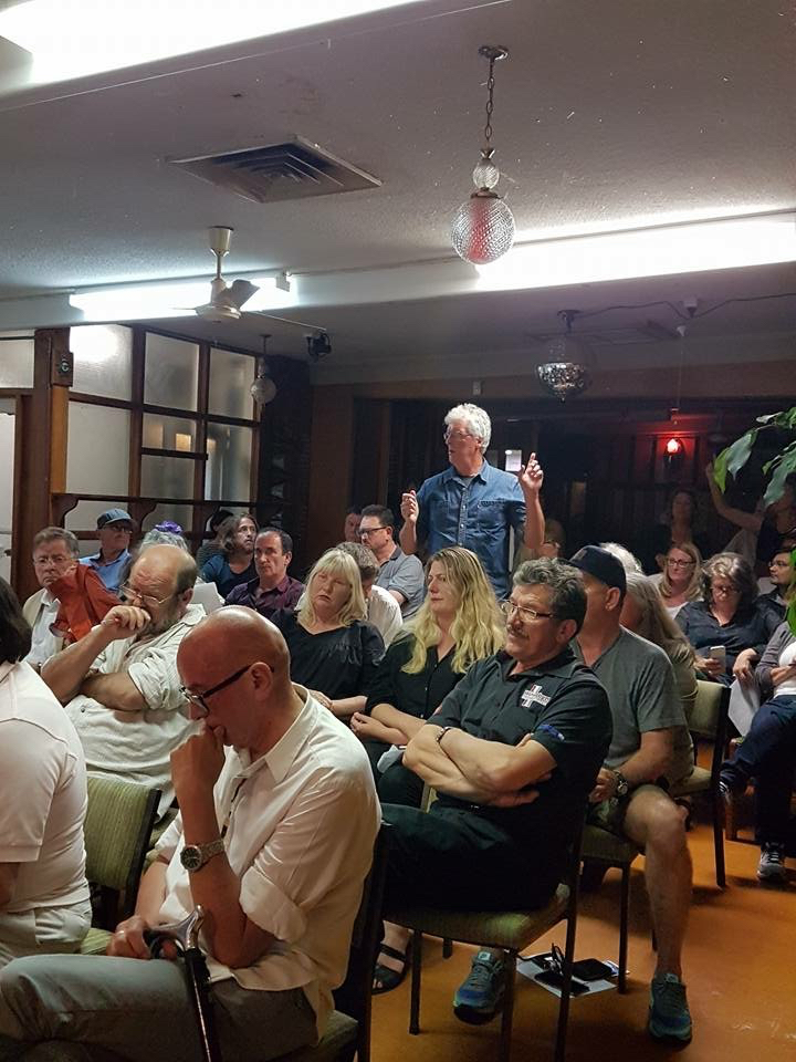 Public meeting at Grey Lynn RSC.  Business owners and residents express their anger at the lack of consultation  and the damaging impacts of AT's cycleway construction. (Photo Lisa Prager)