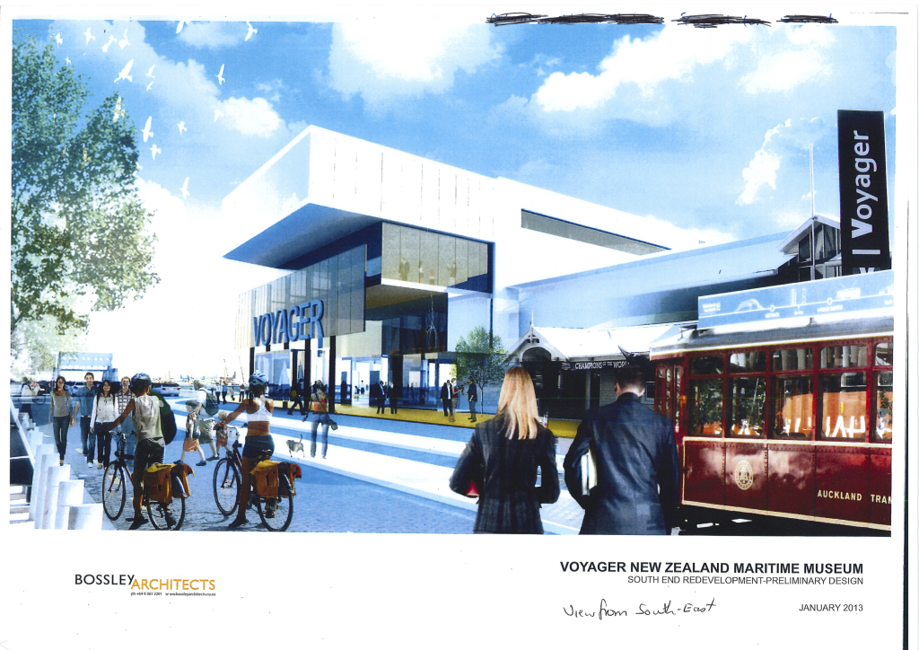 Let's get across. Heritage tram at Maritime Museum from Maritime Museum concept plan 2013 (Bossley Architects).